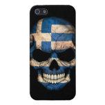 Cráneo griego de la bandera en negro iPhone 5 funda