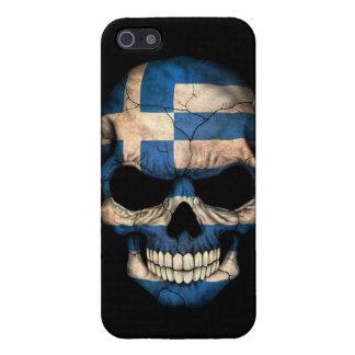 Cráneo griego de la bandera en negro iPhone 5 carcasas