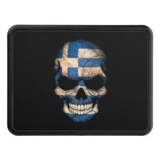 Cráneo griego de la bandera en negro tapas de tráiler