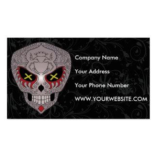 Cráneo gris del azúcar con los ojos cruzados tarjetas de visita