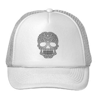 Cráneo gris del azúcar que remolina gorra