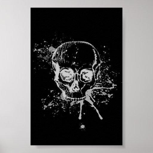 cráneo - gris póster