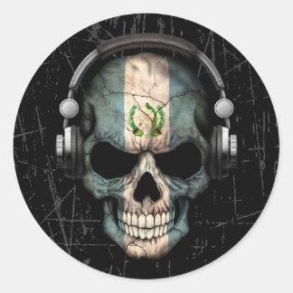 Cráneo guatemalteco rasguñado de DJ con los Pegatina Redonda