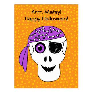 Cráneo Halloween del pirata Tarjetas Postales
