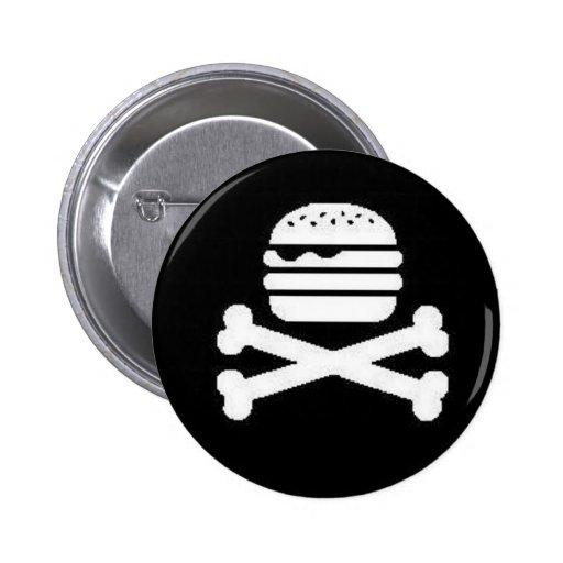 Cráneo-Hamburguesa y bandera pirata Pin