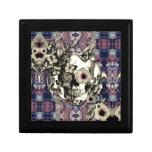 Cráneo hecho de amapolas y de mariposas cajas de joyas