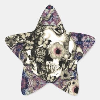 Cráneo hecho de amapolas y de mariposas pegatina en forma de estrella