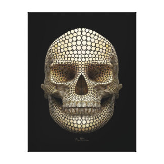 Cráneo hecho de círculos impresiones en lienzo estiradas