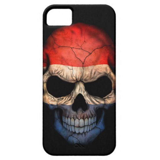 Cráneo holandés de la bandera en negro iPhone 5 carcasa