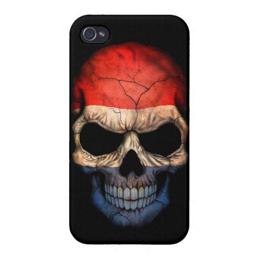 Cráneo holandés de la bandera en negro iPhone 4 cobertura