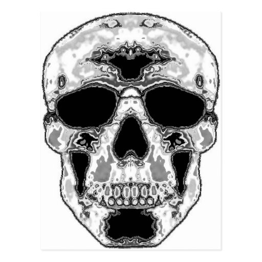 Cráneo hueco gris con los ojos de las gafas de sol postales