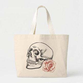 Cráneo humano con el dibujo lineal del rosa rojo bolsas