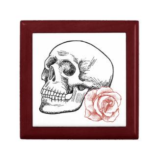 Cráneo humano con el dibujo lineal del rosa rojo cajas de joyas