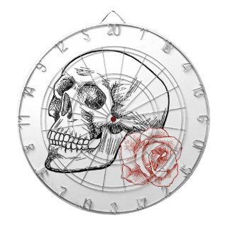Cráneo humano con el dibujo lineal del rosa rojo tablero de dardos