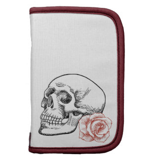 Cráneo humano con el dibujo lineal del rosa rojo planificadores