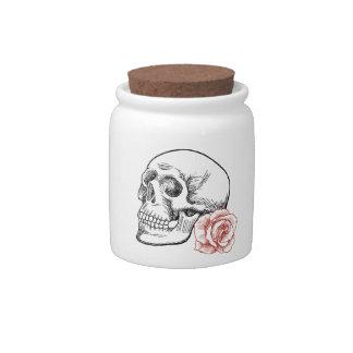 Cráneo humano con el dibujo lineal del rosa rojo platos para caramelos