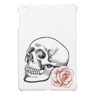 Cráneo humano con el dibujo lineal del rosa rojo