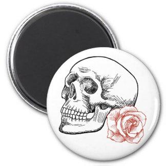 Cráneo humano con el dibujo lineal del rosa rojo imán de frigorífico