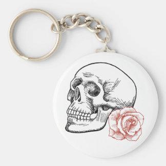 Cráneo humano con el dibujo lineal del rosa rojo llaveros personalizados
