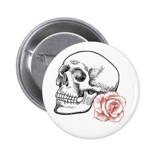 Cráneo humano con el dibujo lineal del rosa rojo pin