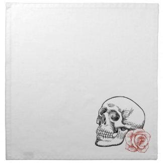 Cráneo humano con el dibujo lineal del rosa rojo servilletas