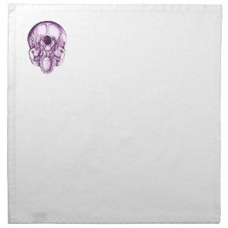 Cráneo humano púrpura abajo servilleta de papel
