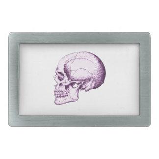 Cráneo humano púrpura. Lado Hebilla De Cinturon Rectangular