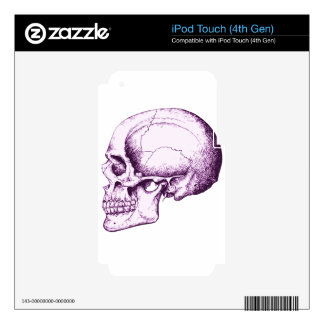 Cráneo humano púrpura. Lado iPod Touch 4G Calcomanías