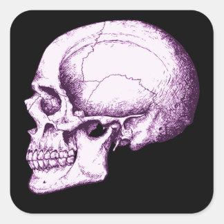 Cráneo humano púrpura. Lado Pegatina Cuadrada