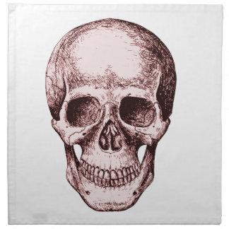 Cráneo humano rojo oscuro servilleta imprimida
