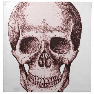 Cráneo humano rojo oscuro servilleta de papel