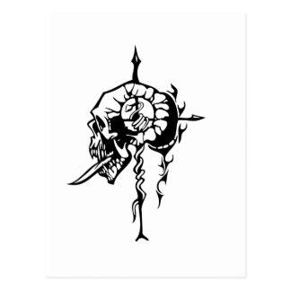 Cráneo humano tarjeta postal