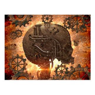 Cráneo impresionante del steampunk tarjeta postal