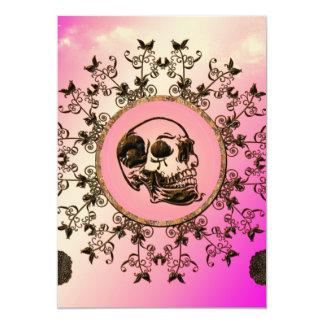 """Cráneo impresionante hecho del metal oxidado invitación 5"""" x 7"""""""