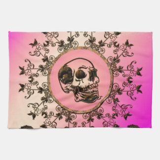 Cráneo impresionante hecho del metal oxidado toalla de cocina