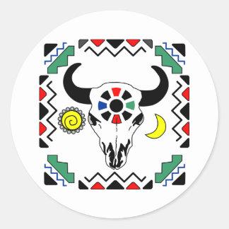 Cráneo indio de la vaca pegatinas redondas