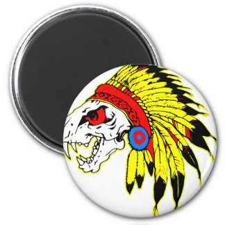 Cráneo indio Headress Imán Redondo 5 Cm