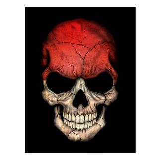 Cráneo indonesio adaptable de la bandera tarjeta postal