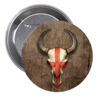 Cráneo inglés de Bull de la bandera en el efecto d Pin