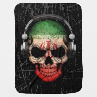 Cráneo iraní rasguñado de DJ con los auriculares Manta De Bebé