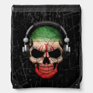Cráneo iraní rasguñado de DJ con los auriculares Mochila