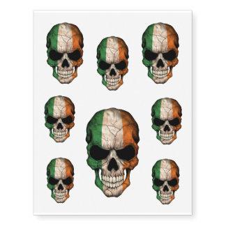 Cráneo irlandés adaptable de la bandera tatuajes temporales