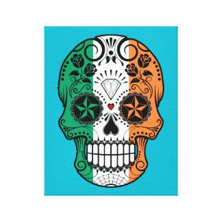 Cráneo irlandés adaptable del azúcar de la bandera impresiones en lona estiradas