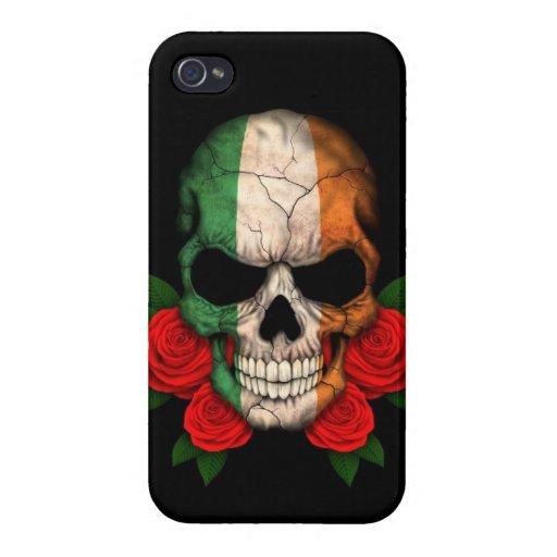 Cráneo irlandés de la bandera con los rosas rojos iPhone 4 coberturas
