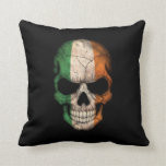 Cráneo irlandés de la bandera en negro almohadas