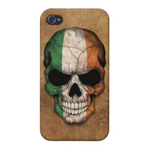 Cráneo irlandés envejecido y llevado de la bandera iPhone 4 carcasa