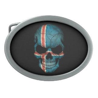 Cráneo islandés adaptable de la bandera hebillas cinturon ovales