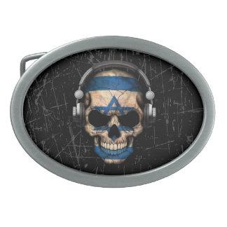 Cráneo israelí rasguñado de DJ con los auriculares Hebillas Cinturón Ovales