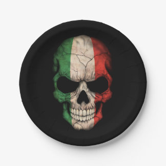 Cráneo italiano adaptable de la bandera plato de papel 17,78 cm