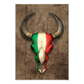 """Cráneo italiano de Bull de la bandera en el efecto Invitación 3.5"""" X 5"""""""